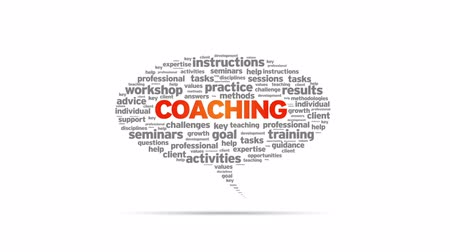 workshop : Animated rotating Coaching Speech Bubble on white background.