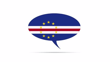 haladás : Cape Verde Flag Speech Bubble Stock mozgókép
