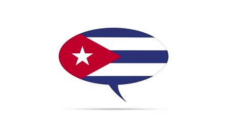 kuba : Cuba Flag Speech Bubble Stock mozgókép