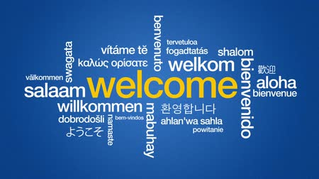 посетитель : Welcome in different languages Стоковые видеозаписи