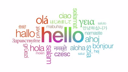 olá : Hello in different languages Stock Footage