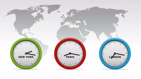 čas : New York, Paris, London Time zones