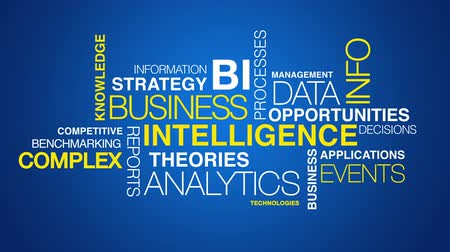 служба : Business intelligence word cloud text animation