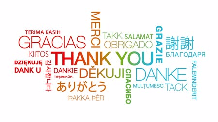 ação de graças : Thank you in different languages text cloud