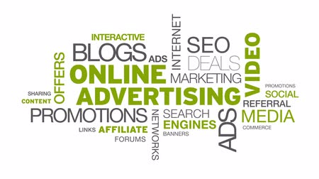 the media : Online Advertising Word Cloud Animation  Stock Footage