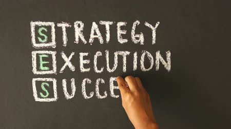 фокус : Strategy, Execution, Success Chalk Drawing Стоковые видеозаписи