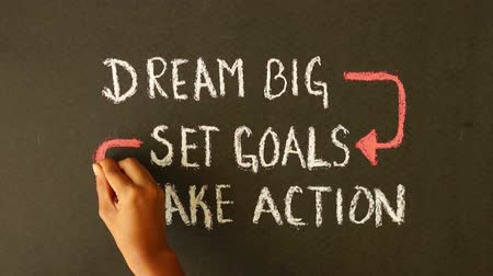 sucesso : Dream Big, Set Goals, Take Action chalk drawing