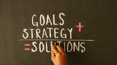 lousa : Goals Strategy, Solutions Summation Chalk Drawing Vídeos