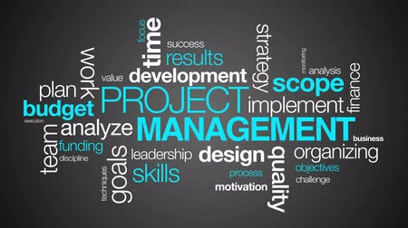 projects : Project Management word Cloud on dark background Stock Footage