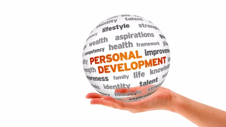 zawód : A person holding a 3D Personal Development Word Sphere Wideo