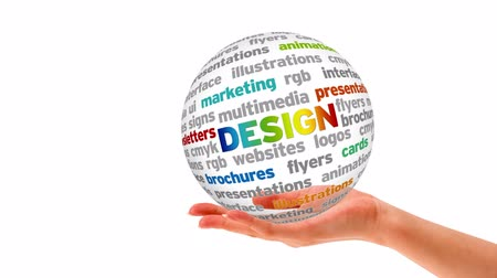 иллюстрация : A person holding a 3D design word Sphere Стоковые видеозаписи