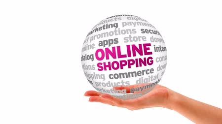 коммерция : A person holding a 3d Online Shopping Word Sphere