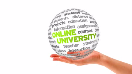 prova : A person holding a 3d Online University Word Sphere