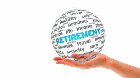 business values : A person holding a 3D retirement word sphere