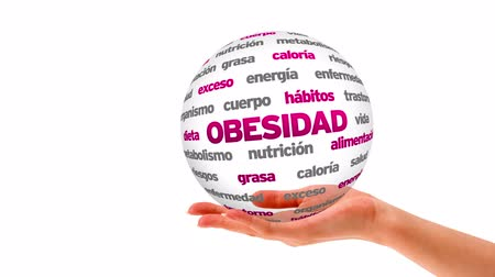 fogyás : A person holding a 3d Obesity word sphere (In Spanish) Stock mozgókép