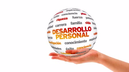 határozza meg : A person holding a 3D Personal Development word sphere (In Spanish)
