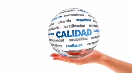 удовлетворение : A person holding a 3D Quality word sphere (In Spanish)
