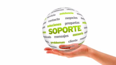 investigar : A person holding a 3D Support word sphere (In Spanish)