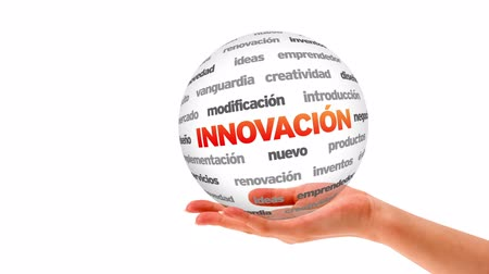 innováció : A person holding a 3d Innovation word sphere (In Spanish)