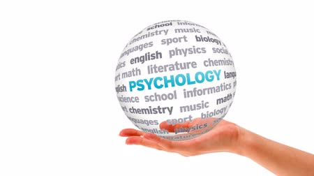psikoloji : A person holding a Psychology Word Sphere Stok Video