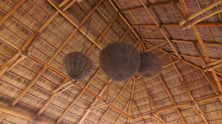 chata : Wood roof with hanging lights