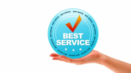 business values : A person holding a Best Service Icon