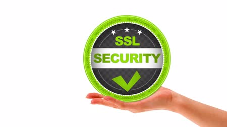 qualidade : A person holding a SSL security Sign Stock Footage