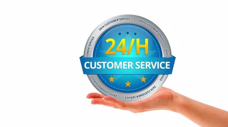 focalizada : A person holding a 24 hours Customer Service Sign