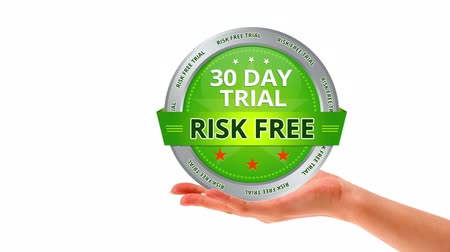 oferta : A person holding a 30 day risk free guarantee sign