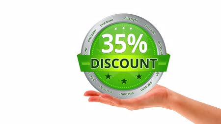 erkeklere özel : A person holding a green 35 percent discount icon