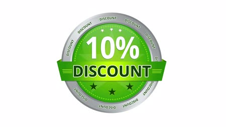 barganha : Green Animated 10 percent discount icon Stock Footage
