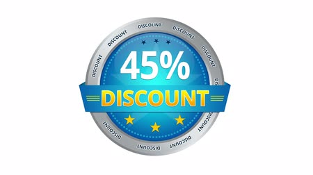 barganha : Blue Animated 45 percent discount icon Stock Footage