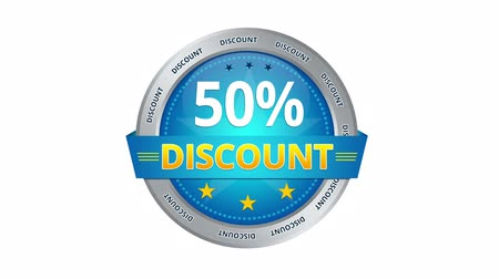oferta : Blue animated 50 percent discount icon