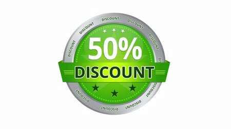кнопка : Green animated 50 percent discount icon