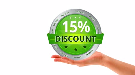 loja : A person holding a green 15 percent discount icon