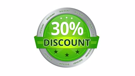 loja : Green Animated 30 percent discount icon Stock Footage