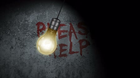 segít : A swinging light bulb with Please Help written in blood behind it on the wall.