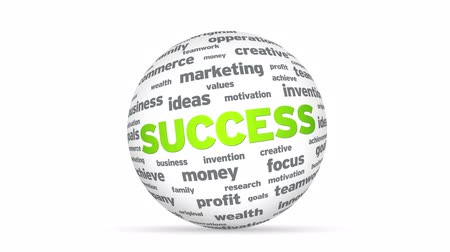 success : Flying words forming a Success Word Sphere Stock Footage