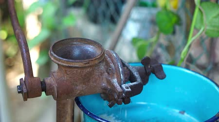 nasiona : Old, antique corn grinder Wideo
