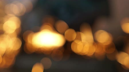 боке : Moving yellow bokeh dots Стоковые видеозаписи