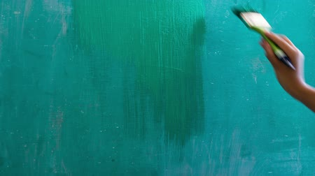 Painting a green board timelapse