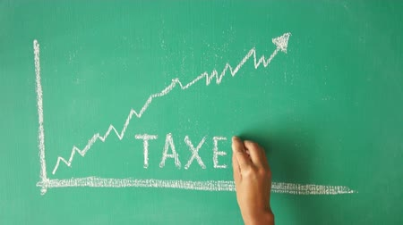 impostos : A person a drawing a tax diagram with chalk on a greenboard Stock Footage