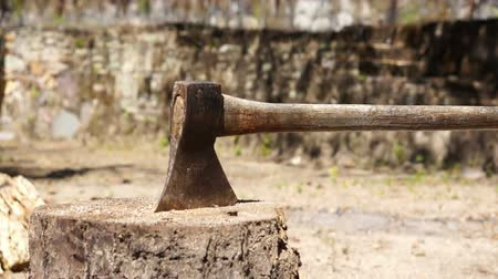 bıçak : Dolly shot of an old Axe