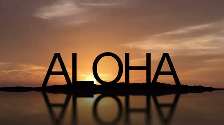 Word Aloha With Sunset Timelapse in the background Stock mozgókép