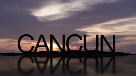Word Cancun With Sunset Timelapse in the background