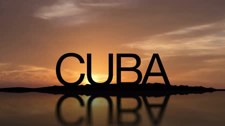 solar : Word Cuba With Sunset Timelapse in the background