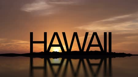Word Hawaii With Sunset Timelapse in the background Stock mozgókép