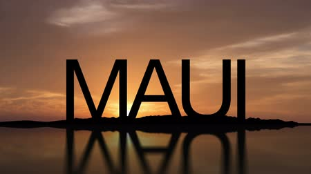 Word Maui, Hawaii With Sunset Timelapse in the background