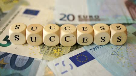 A dolly shot of several euro bills and the word Success written with small wooden dices.