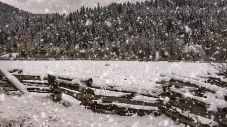 A winter scene of an old wooden fence and snow storm Stock mozgókép